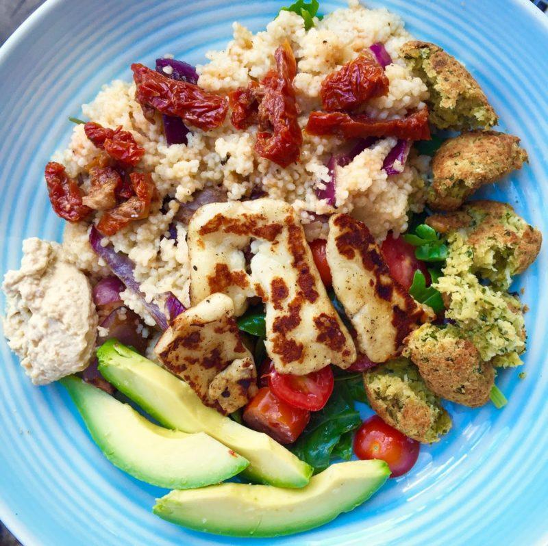 Wholesome halloumi and falafel salad