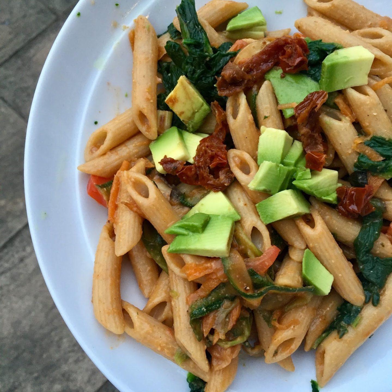 Speedy vegan pasta salad