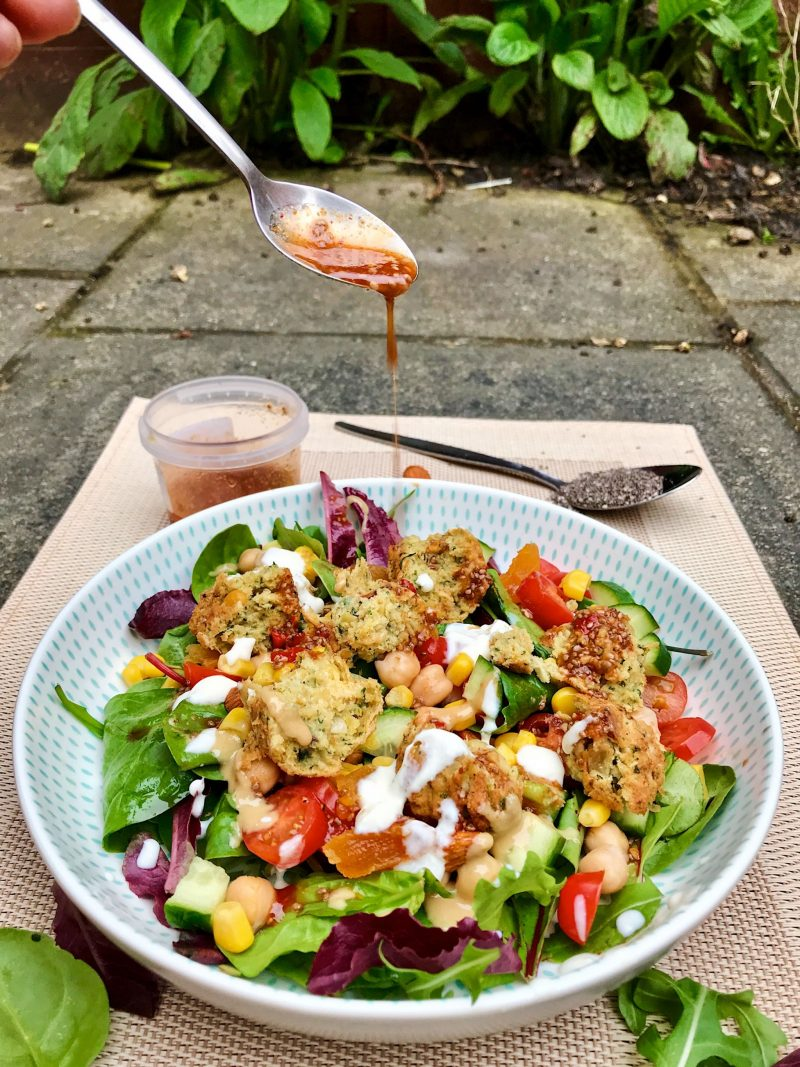 Moroccan Chickpea Salad with Vegan Chili Dressing