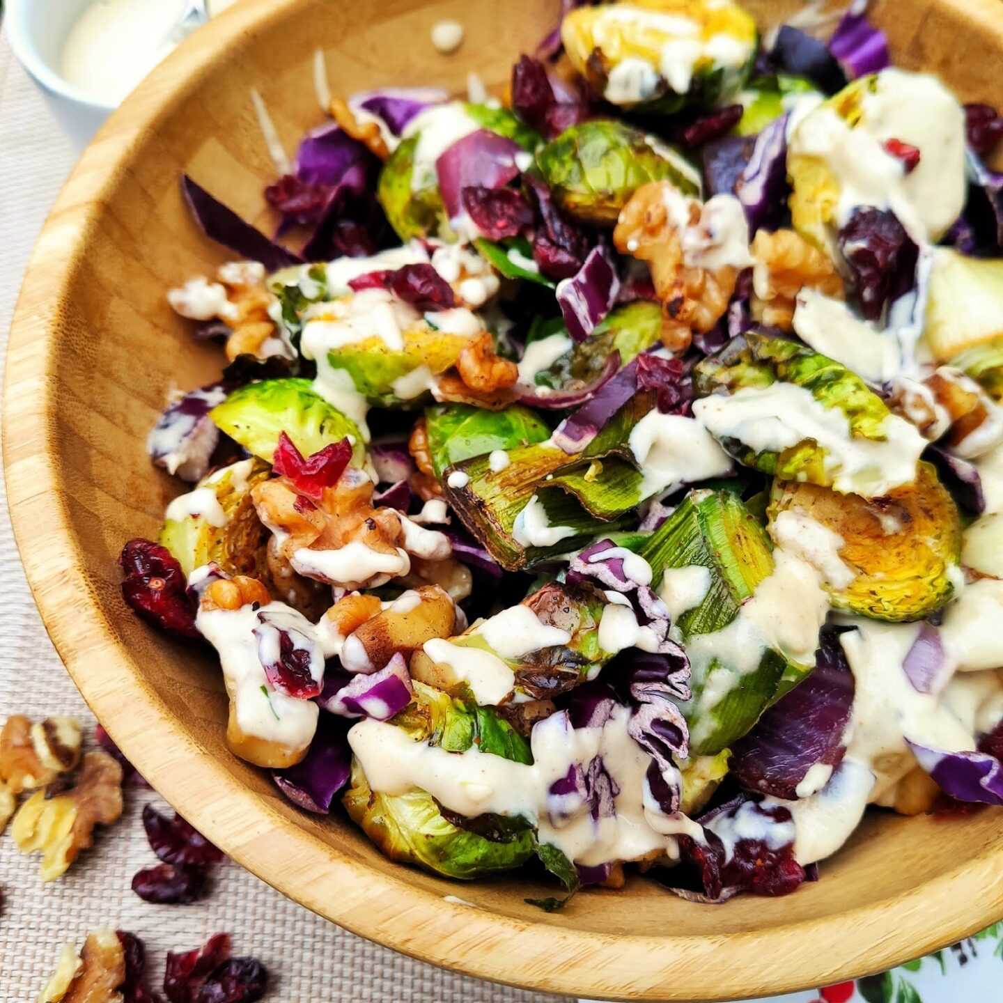 Middle Eastern Sprouts with Tahini and Cranberries