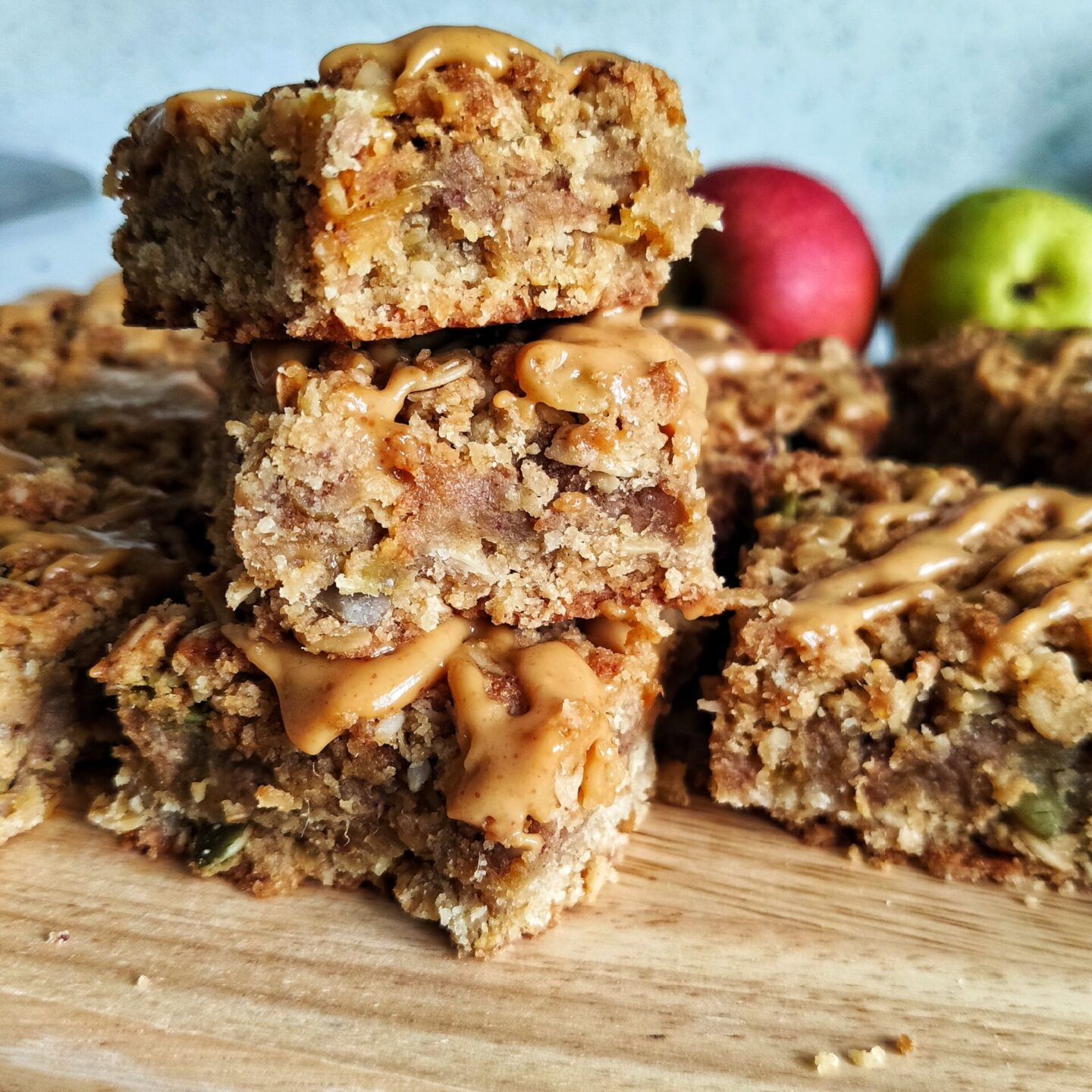 Apple Flapjacks with a Peanut Butter Drizzle (Ve)